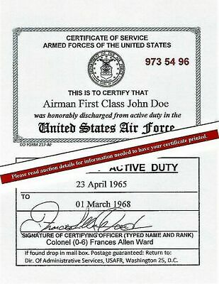 United States Air Force or AF Reserve Honorable Discharge Lam Card 2 1/8 X 3 3/8