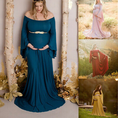 Women Pregnants Sexy Photography Props Off Shoulders Maternity Solid Dress