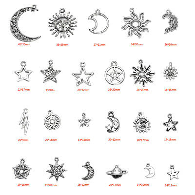 23Pcs Stainless Steel Star Moon Sun Planet Charms Pendant Jewelry Making Beads