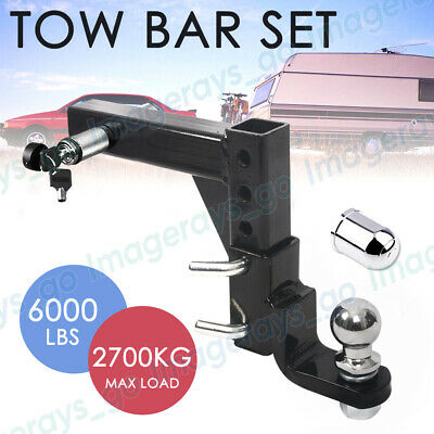 Adjustable Height Tow Hitch Ball Towbar Drop Mount Tongue Trailer Steel  5 HOLE