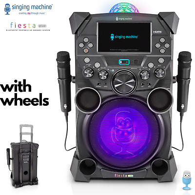 SINGING MACHINE Karaoke Machine Fiesta Bluetooth Speaker System Portable Wheels