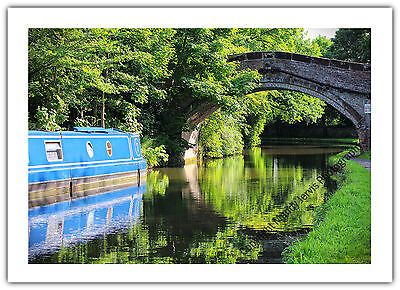 Greetings Card Birthday / Blank Notelet - Canal Narrow Boat Holiday Boating