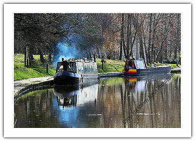 Greetings Card Birthday/ Blank - Canal Narrow Boat Reflections Holiday Boating