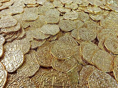 Lot of 50 Shiny Metal Gold Pirate Treasure Coins Replicas Fantasy Metal Coin