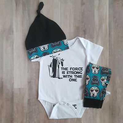 Infant Newborn Baby Girl Boy Shirt Romper Tops+Pants Trousers+Hat Outfit Clothes