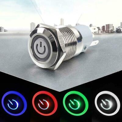 12V 16mm LED Power Symbol Angel Eye Push Button Metal ON/Off Switch Latching RT