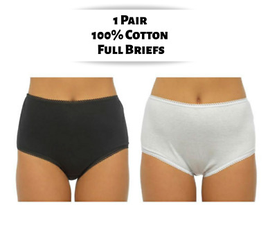 b1a96fd653f Womens Full Briefs 100% Cotton Knickers Ladies Pants Underwear Black White  12-20