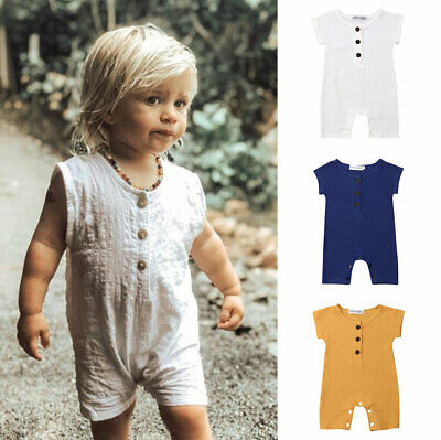 US Toddler Baby Boy Linen Clothes Romper Bodysuit Jumpsuit Summer One-Pieces Top