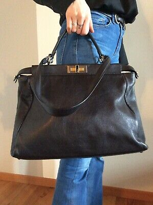 226c660e7f FENDI PEEKABOO GRANDE Borsa Pelle interno Logo Alabama Kid Leather Bag  Tasche