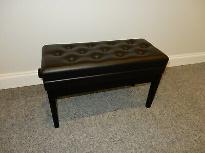 Adjustable Leather Duet Piano Stool With Storage. Gloss Black With Button Top