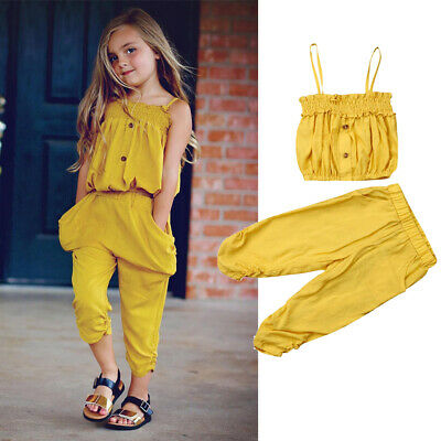 AU Toddler Kid Baby Girl Clothes Sling Top Long Pants 2Pcs Outfits Sets 1-5Y