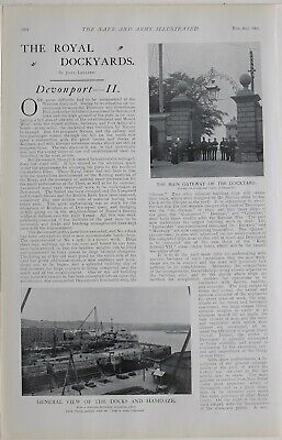 1901 Print Devonport Royal Dockyard Mast Pond Bunkers Hill Flagstaff Mount Wise