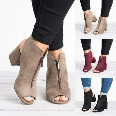 Fashion Women Peep Toe Ankle Boots Mid Chunky Heel Sandals Casual Zip Shoes Size