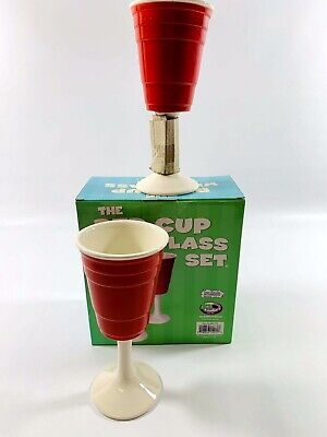 Big Mouth Toys Ceramic Red Solo Cup Wine Glass Set of 2 Glasses NIB