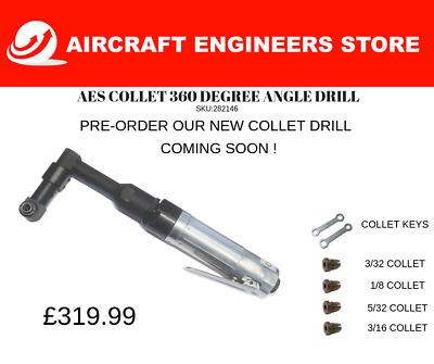 Aircraft /Aerospace Tools Aes Collet 360 Degree Angle Drill With Collet/Spanners