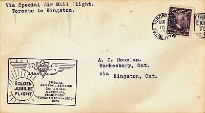 Canada : Nat. Exhibition Toronto, Special Air Mail Service To Kingston (1928)