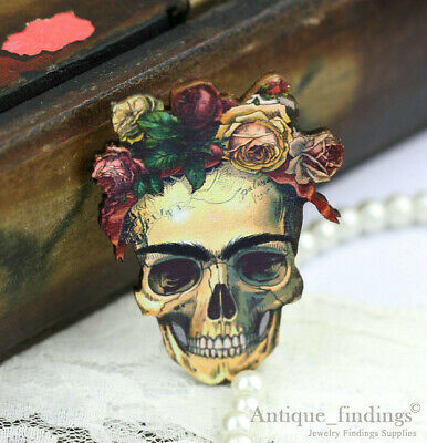 4pcs Handmade Wood Wooden Sugar Skull Charms / Pendants HW019D