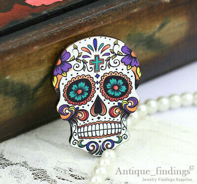 4pcs Handmade Wood Wooden Sugar Skull Charms / Pendants HW018C