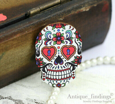 4pcs Handmade Wood Wooden Sugar Skull Charms / Pendants HW018B