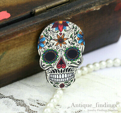 4pcs Handmade Wood Wooden Sugar Skull Charms / Pendants HW017D