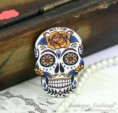 4pcs Handmade Wood Wooden Sugar Skull Charms / Pendants HW017C