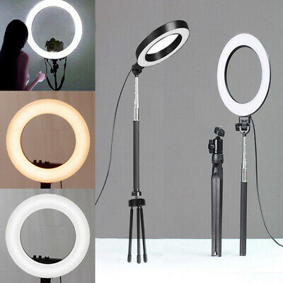 """6"""" 64LED Ring Light Dimmable 5500K For Smart Phone Camera with Light Stand J9K6C"""