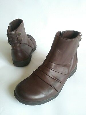 4c03541081 CLARKS COLLECTION Side Zip Layered Ankle Boots Brown Leather Womens Size 5.5