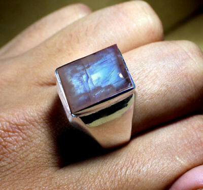 Natural Rainbow Moonstone Gemstone Solid 925 Sterling Silver Mens Ring Jewelry