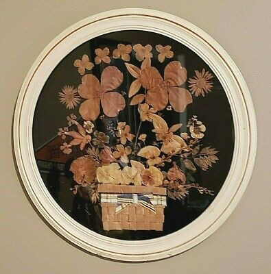 Vintage Pressed Dried Flowers In Circular Glass Frame