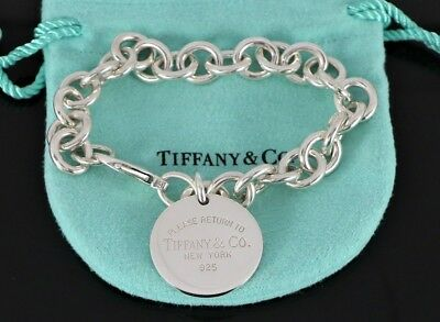 Return To Tiffany & Co Sterling Silver Round Tag Lobster Clasp Link Bracelet 7.5