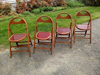 Set Of 4 Vtg Wooden Curved Back Folding Funeral Parlor Chairs- VGC , Red Seats