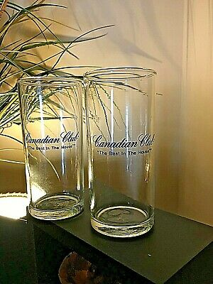 """{2} 5.5 """" Tall Canadian Club Glasses {THEBEST IN THE HOUSE}  Black Logo"""