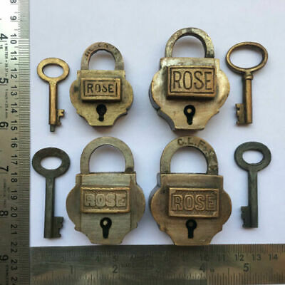 Old or antique solid brass padlock lock with key small or miniature 4pcs lot