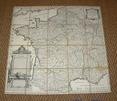 VERY RARE 1770 CARTE DES POSTES DE FRANCE French Map Linen