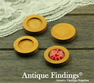 10pcs 16mm Antique Wooden Wood Cameo Base Setting / Tray HW716D