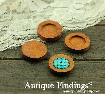 10pcs 16mm Antique Wooden Wood Cameo Base Setting / Tray HW716A