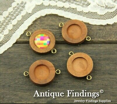10pcs 12mm Antique Wooden Wood Cameo Base Setting / Tray Pendant Connetor HW750B