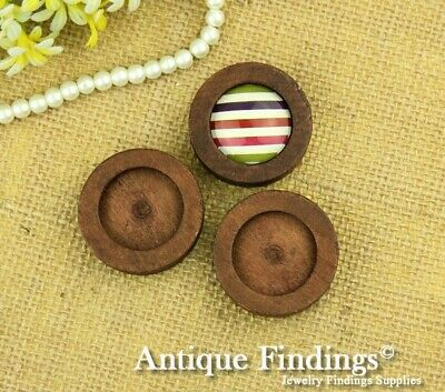 4pcs 25mm Antique Wooden Wood Cameo Base Setting / Tray HW706D