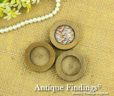 4pcs 25mm Antique Wooden Wood Cameo Base Setting / Tray HW706B