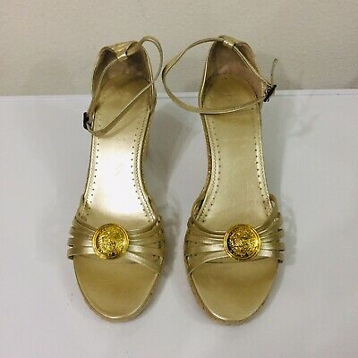 1a0981f75bb J.CREW ITALIAN LEATHER strappy ankle-strap espadrille wedge heel sandals 8  Gold