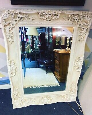 Stunning Large Ornate French Style Mirror In Light Ivory Cream ✨✨💗