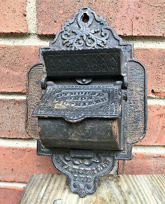 Antique Cast Iron Match Safe Holder EVANSVILLE IN Strouse Bros Clothiers Vintage