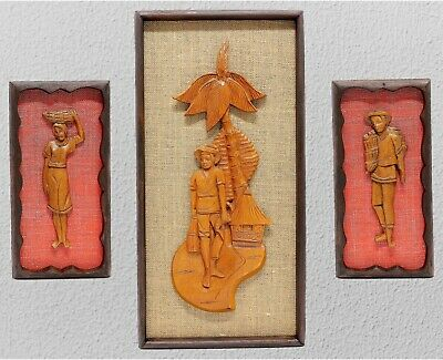Vintage Set of 3 Mid Century Burlap & Wood Framed Wall Hangings TIKI CHIC