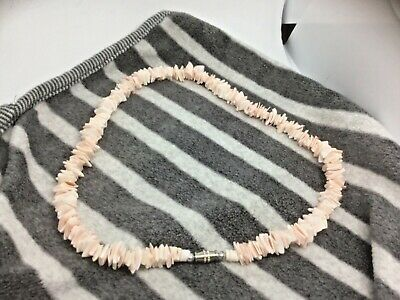 Coral Pink Puka Shell Necklace Surfer Beach Holidays Gift Hippy Boho Gift J178