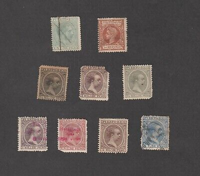 PUERTO RICO - 1890 BABY ISSUES (9 stamps)