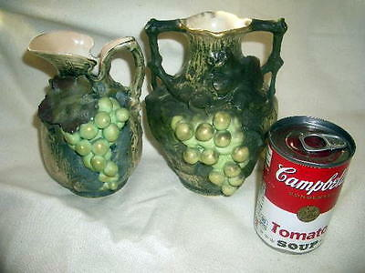 "LOT of 2 Teplitz amphora 6½"" vase 6"" pitcher; applied grapes leaves;crown mark;"