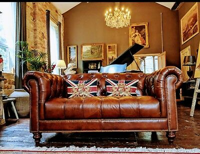 Buckingham, 2 Seater Sofa, Hide Leather Chesterfield, Chestnut Brown