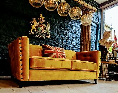 3 SEATER PLUSH MUSTARD GOLD VELVET CHESTERFIELD SOFA COUCH end of line