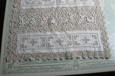 Antique Figural Pattern Handmade Needle Lace 12 Placemats & Runner  Set Dk Ivory