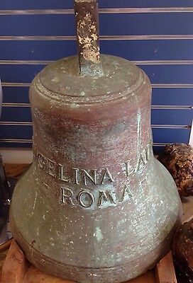 """Ship's Bell From Costa Cruise Line """"M.S. Angelina Lauro"""" Bronze, Large Bell 23"""""""